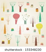 big grunge trees collection in... | Shutterstock .eps vector #153348230