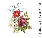 watercolor bouquet flowers....   Shutterstock . vector #1533520133