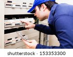 portrait of an electrician at... | Shutterstock . vector #153353300