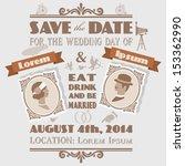 vintage wedding invitation 1 | Shutterstock .eps vector #153362990