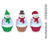 Cute Snowman Cupcakes Isolated...