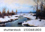 Snowy Forest. Ice River With A...