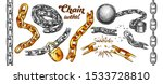 Iron Chain Color Set Vector....