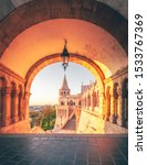 the fisher bastion in Budapest in the morning, sunrise in historical surroundings.  beautiful light mood and people empty.  hungary europe in its most beautiful form