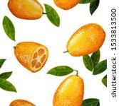 exotic fruit kumquat with green ... | Shutterstock .eps vector #1533813500