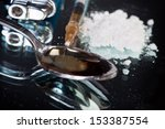 syringe  spoon and lighter ... | Shutterstock . vector #153387554