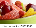 ceramic cup with mixed fruit... | Shutterstock . vector #153394943