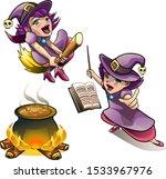 cartoon vector halloween witch... | Shutterstock .eps vector #1533967976