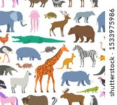 seamless pattern with animal ... | Shutterstock . vector #1533975986