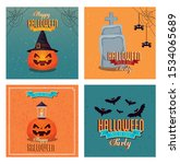 set of poster happy halloween... | Shutterstock .eps vector #1534065689