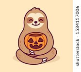 cute cartoon sloth holding... | Shutterstock .eps vector #1534157006