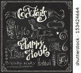 Hand drawn cocktails doodles. Chalk lettering