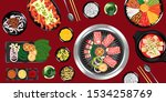 top view of traditional korean... | Shutterstock .eps vector #1534258769