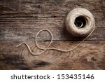 Rope Coil On Old Wooden...