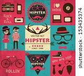 hipster retro infographics.... | Shutterstock .eps vector #153435374