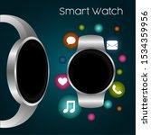 smartwatch in a poster. digital ... | Shutterstock .eps vector #1534359956