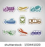 flat retro color stickers   set ... | Shutterstock .eps vector #153441020