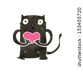 retro cartoon black cat with... | Shutterstock .eps vector #153455720