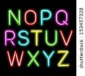 neon glow alphabet. vector. | Shutterstock .eps vector #153457328