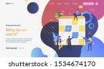 workers creating schedule.... | Shutterstock .eps vector #1534674170
