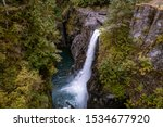 Elk Falls Provincial Park Campbell river with suspension bridge Vancouver Island Canada