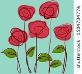 red roses. hand drawn stylized... | Shutterstock .eps vector #1534734776