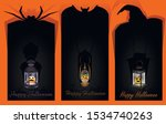 halloween labels with lantern...   Shutterstock .eps vector #1534740263