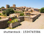 Tuscania, Viterbo, Italy: view of the city with etruscan sarcophagi
