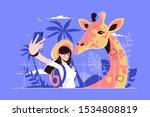 Selfie With Giraffe Vector...