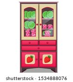 Red Sideboard With A Pattern O...