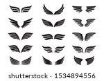 Set Of Black Wings. Vector...
