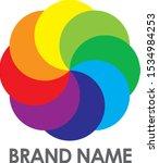 rainbow logo circle colorful...