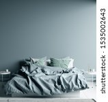 Dark Cold Blue Bedroom Interio...
