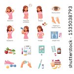 cartoon icons set with woman... | Shutterstock .eps vector #1535038793