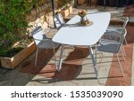 outdoor dining table on the...   Shutterstock . vector #1535039090