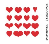 red hearts icons. set of 16... | Shutterstock .eps vector #1535039936