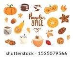 autumn pumpkin spice set.... | Shutterstock .eps vector #1535079566