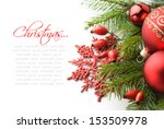 red xmas decorations on white... | Shutterstock . vector #153509978