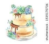 watercolor wedding cake. pastel ... | Shutterstock . vector #1535170736