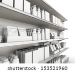 shelf with products or goods.... | Shutterstock . vector #153521960