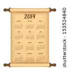 2014 calendar on parchment roll | Shutterstock .eps vector #153524840