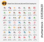 Computer system,Data center,Data security and Cloud computing Icons,Colorful version,vector