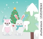 cute bunny and rabbit tree snow ... | Shutterstock .eps vector #1535298263