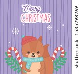 cute bear with hat candy canes... | Shutterstock .eps vector #1535298269