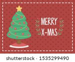 decorated tree with red balls... | Shutterstock .eps vector #1535299490