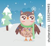 cute owl lights trees snow... | Shutterstock .eps vector #1535299493
