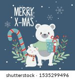 polar bear cat with gift box... | Shutterstock .eps vector #1535299496
