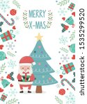 santa claus and tree decoration ... | Shutterstock .eps vector #1535299520