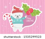 cute polar bear candy cane... | Shutterstock .eps vector #1535299523
