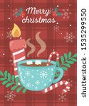 hot chocolate cup marshmallow... | Shutterstock .eps vector #1535299550